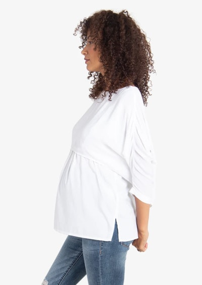 Double Layer Woven Top + Nursing in Bright White