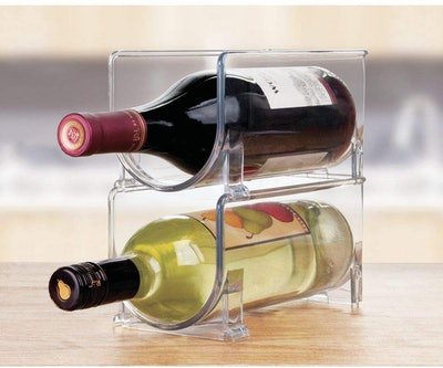 mDesign Plastic Free-Standing Water Bottle and Wine Rack