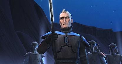 Pre Vizsla with the Darksaber in The Clone Wars