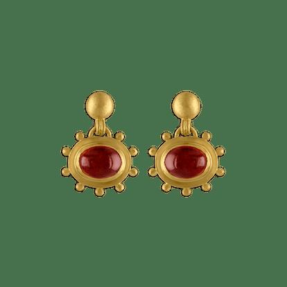 Large Granulated Garnet Bell Earrings