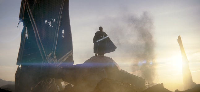 Giancarlo Esposito as Moff Gideon holding the Darksaber in The Mandalorian