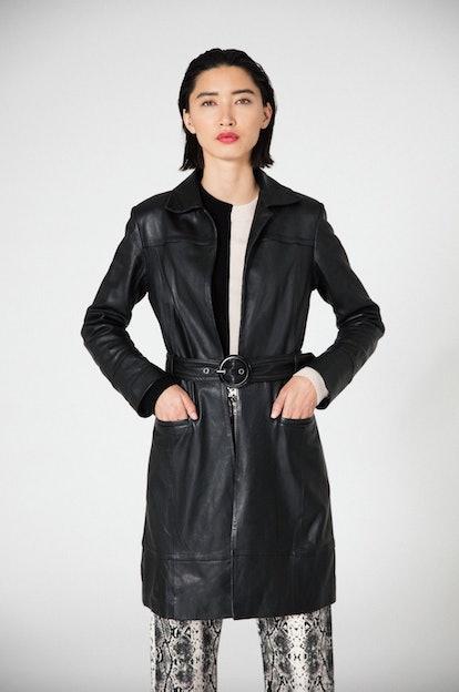 Ann Leather Coat in Black