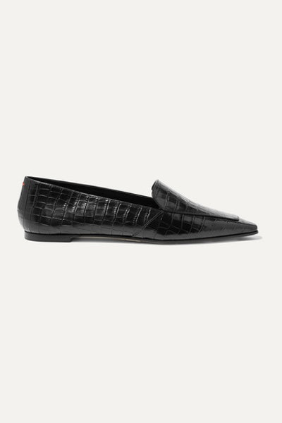 Glossed Croc-Effect Loafers