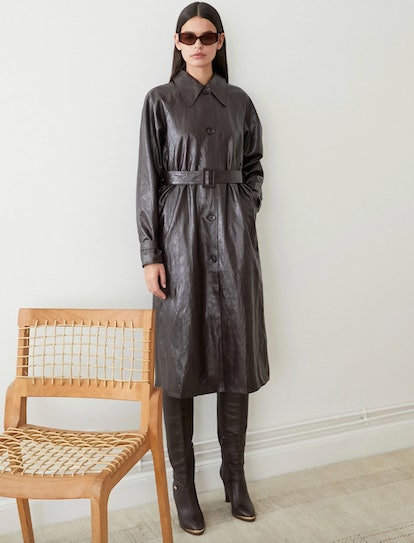 Crackled Leather Trench Coat