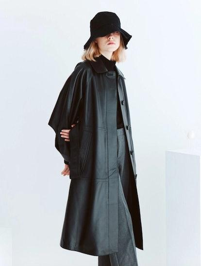 Lambskin Point Sleeve Trench Coat Black