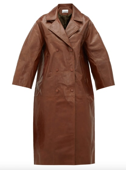 Copped-Sleeve Double-Breasted Leather Trench Coat