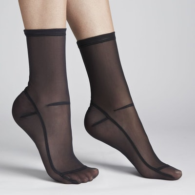 Solid Black Mesh Socks