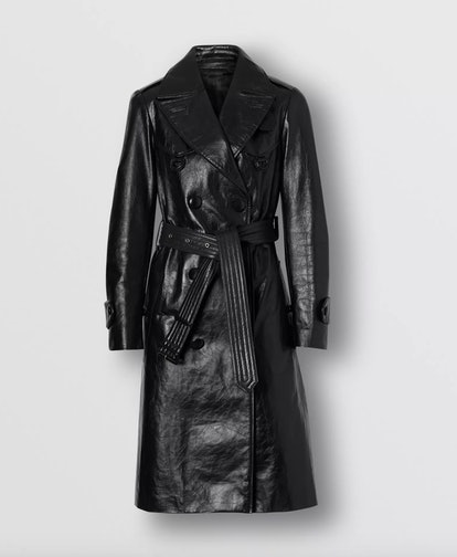 D-ring Detail Crinkled Leather Trench Coat