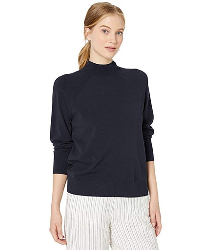 Daily Ritual Women's Stretch Ribbed Mockneck Pullover