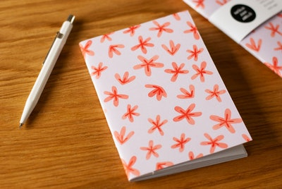 Floral Pattern A6 Notebook, Cute Pocket Notebook with Simple Print, Stocking Filler