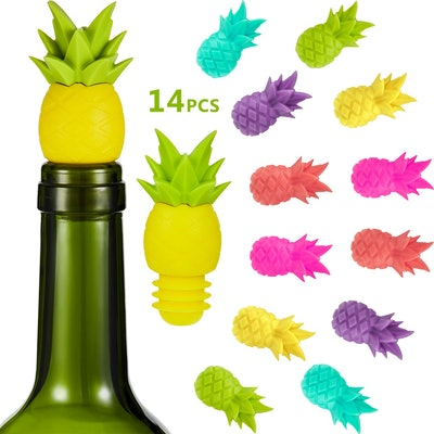 Blulu 14Pcs Pineapple Wine Bottle Stoppers Silicone Wine Glass Markers, Silicone Charms and Wine Stoppers Reusable Beverage Bottle Stoppers Tropic Wine Glass Charms for Wedding Party Gift