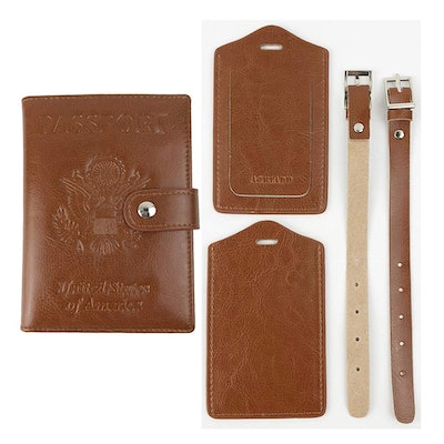 1pcs Passport Holders + 2pcs Luggage Tags Synthetic Leather (Brown)