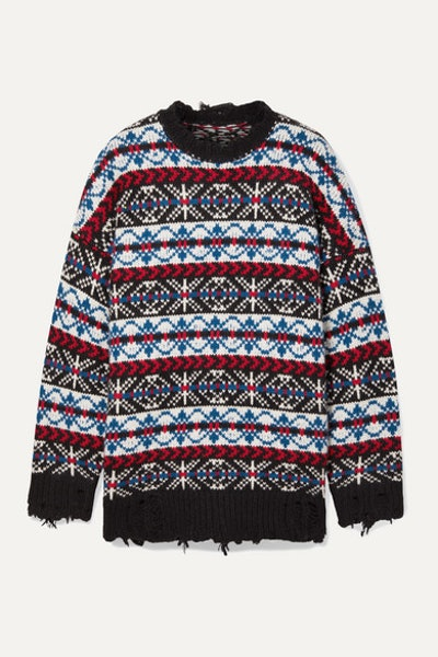 Oversized Distressed Fair Isle Cashmere Sweater