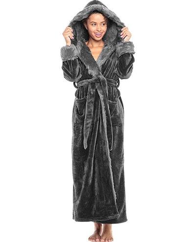 Alexander Del Rossa Fleece Robe With Hood