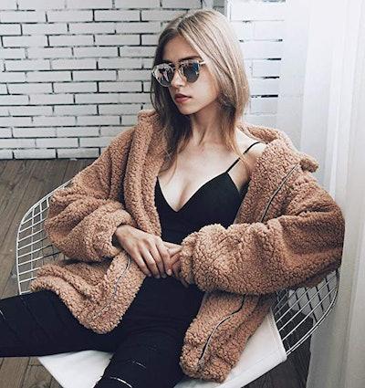 PRETTYGARDEN Women's Shaggy Oversized Coat