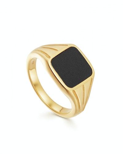 Black Spinel Gold Square Signet Ring
