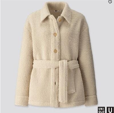 Pile-Lined Fleece Short Coat