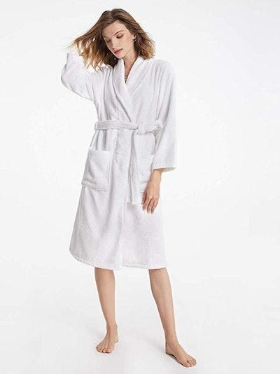 SIORO Terry Cloth Calf-Length Robe