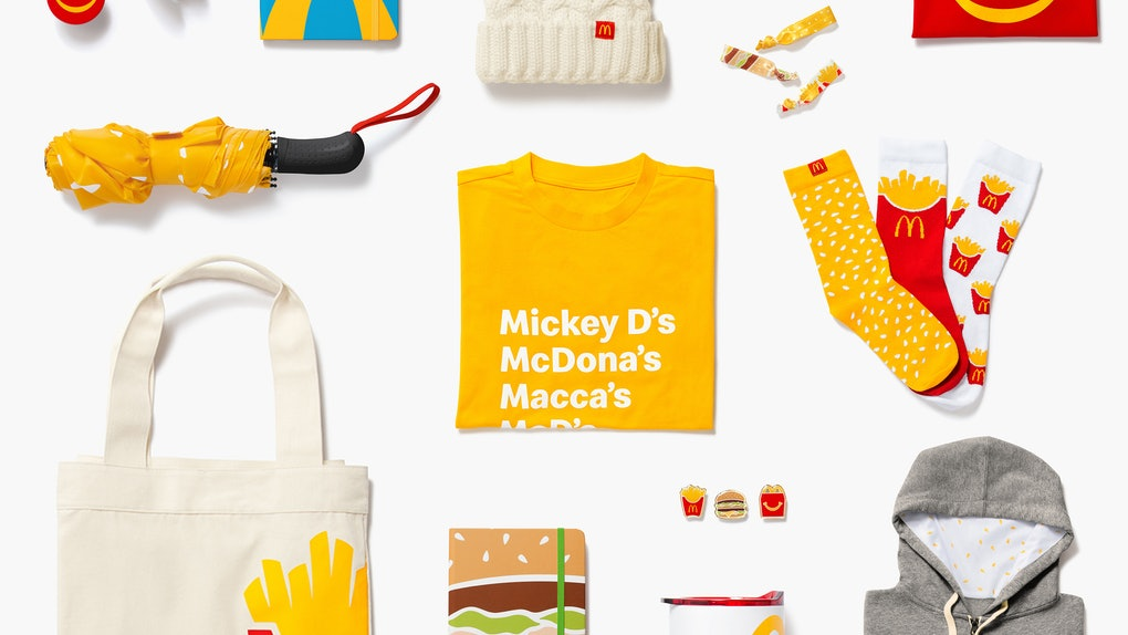 McDonald's Golden Arches Unlimited Shop products include fry socks and a sandwich bag.