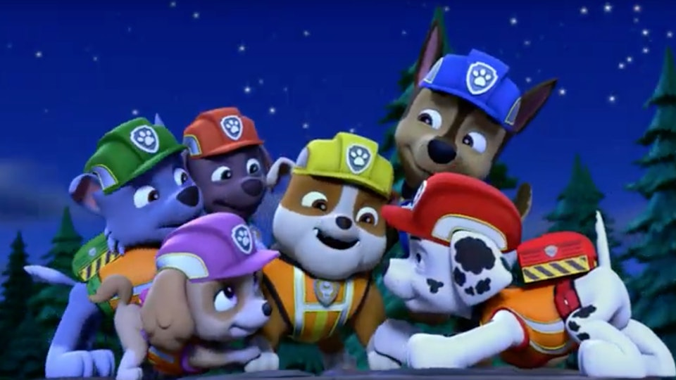 holiday gifts for paw patrol fans; show still of the whole Paw Patrol team