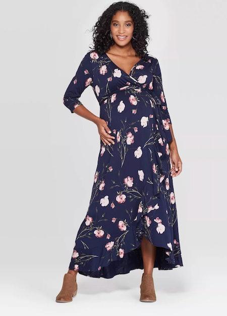 Isabel Maternity by Ingrid & Isabel™ Navy Floral Wrap Dress