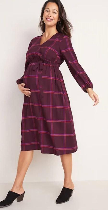 Maternity Faux-Wrap Plaid Midi Dress