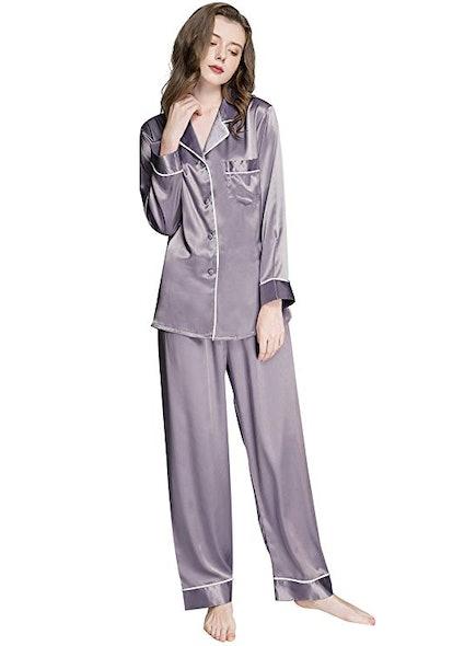 Lonxu Women's Satin Pajama Set