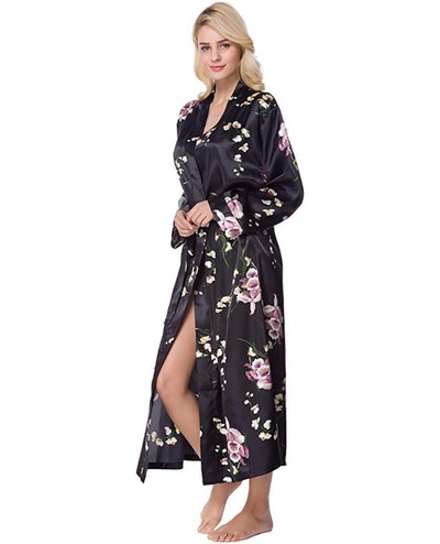 Lavenderi Women's Long Classic Satin Robe