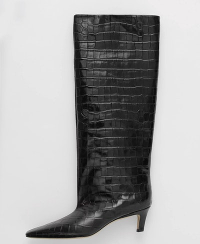 Wide Shaft Boot In Black Croco