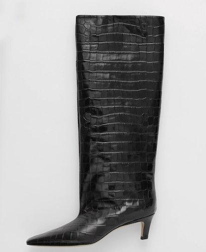 Wide Shaft Boot In Black Croco