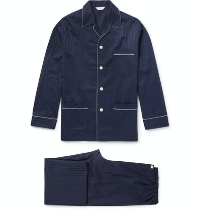Derek Rose Royal Pin-Dot Cotton-Jacquard Pyjama Set