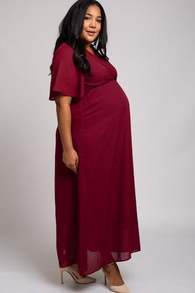 Burgundy Chiffon Bell Sleeve Plus Maternity Maxi Dress