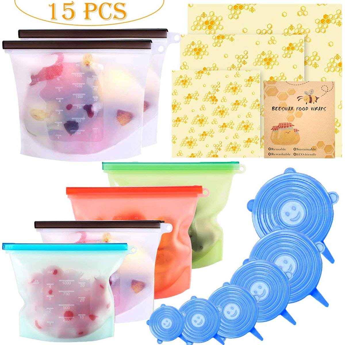 Alpacasso Silicone Food Storage Bags (15-Piece Set)