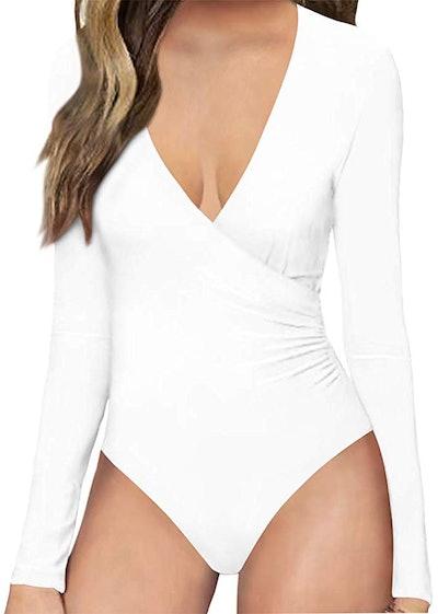 MANGOPOP Plunge Neck Long Sleeve Bodysuit