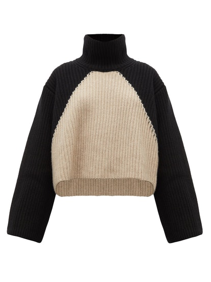 Marianna Two-Tone Cashmere Roll-Neck Sweater