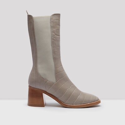 Macy Taupe Croc Leather Slip-On Boots
