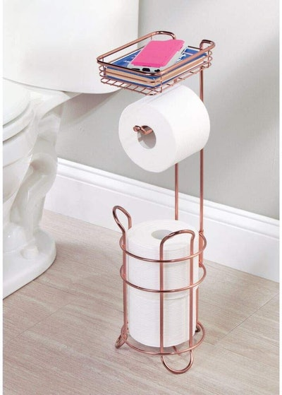 mDesign Freestanding Metal Wire Toilet Paper Stand