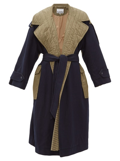 Two-Tone Belted Coat