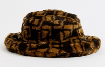 Monogram Faux Fur Bucket Hat
