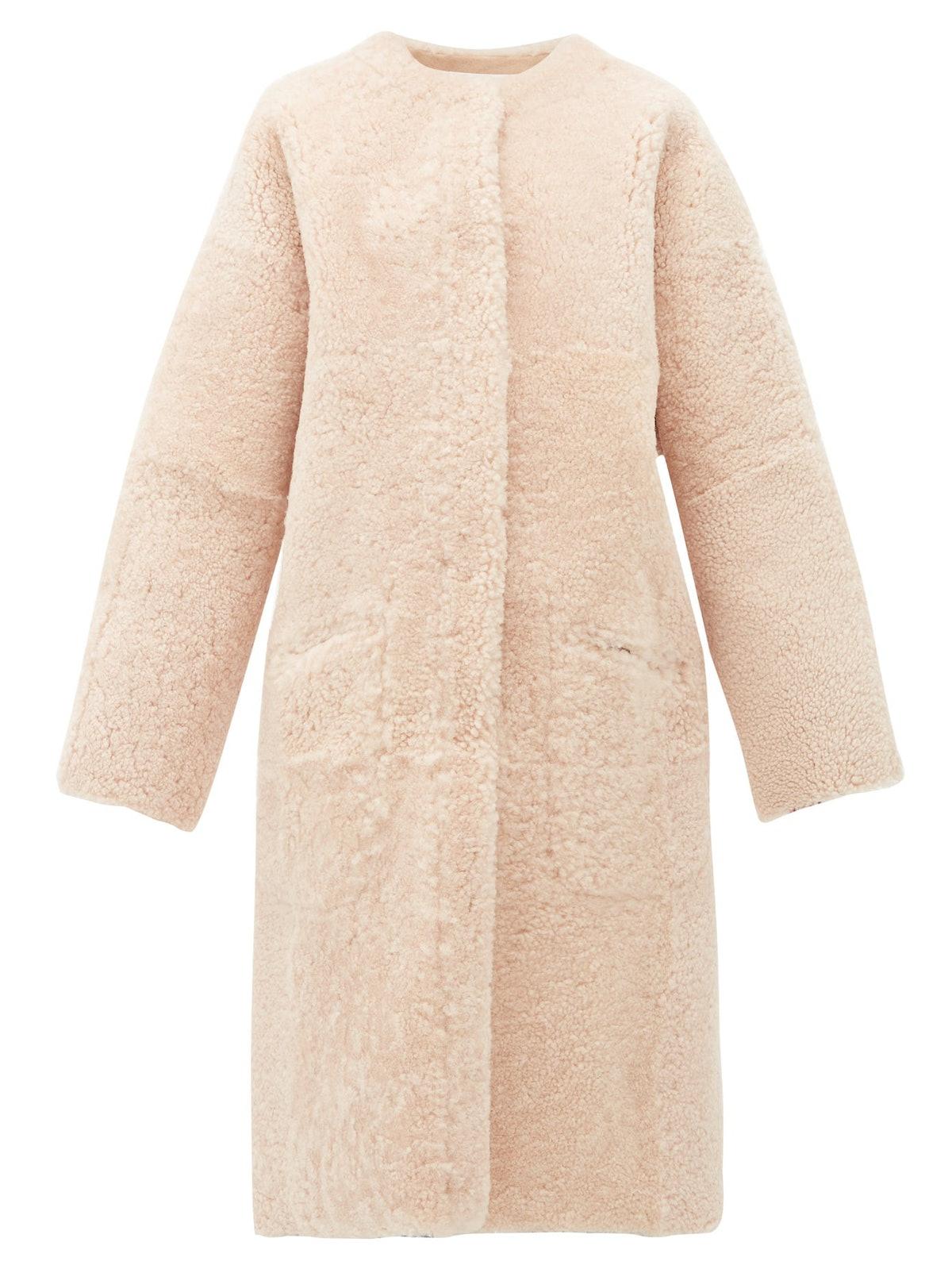 Long-Line Reversible Shearling Coat