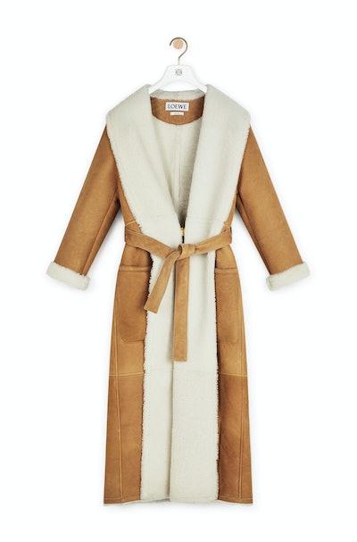 Long Shearling Coat Camel