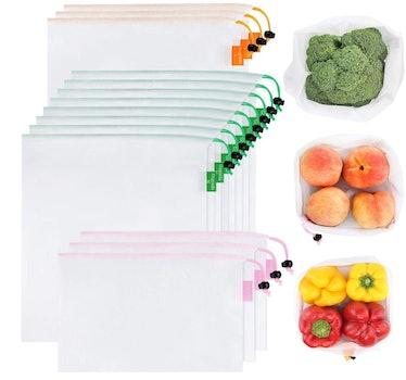 GOGOODA Premium Reusable Produce Bags (15-Piece Set)