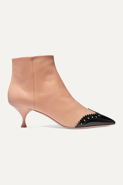 Two-Tone Leather Ankle Boots