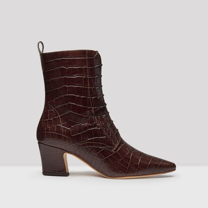 Zelie Mahogany Croc Leather Boots