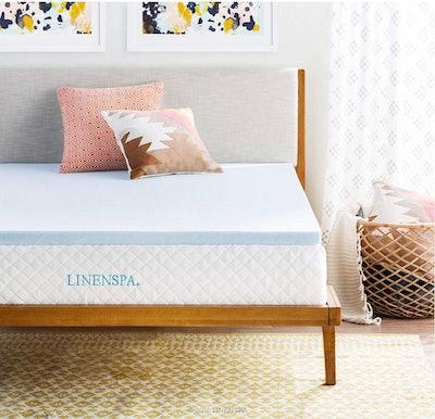 LINENSPA Gel-Infused Memory Foam Mattress Topper, 2-Inch