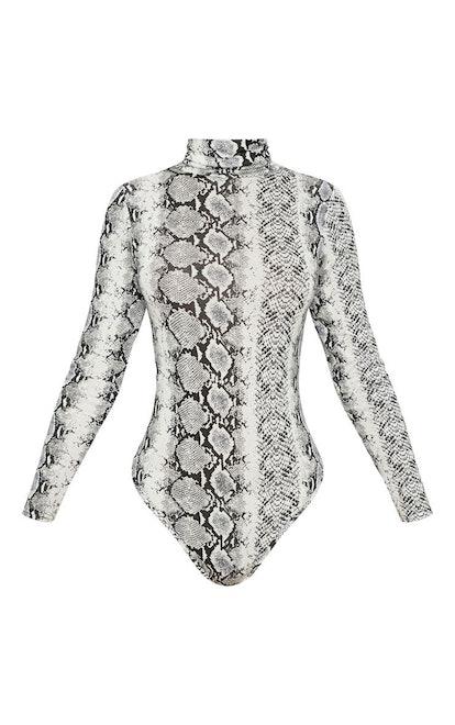 Grey Snake Print Roll Neck Long Sleeve Bodysuit