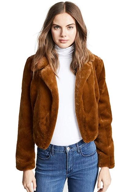 [BLANKNYC] Blank Denim Women's Cropped Faux Fur Jacket