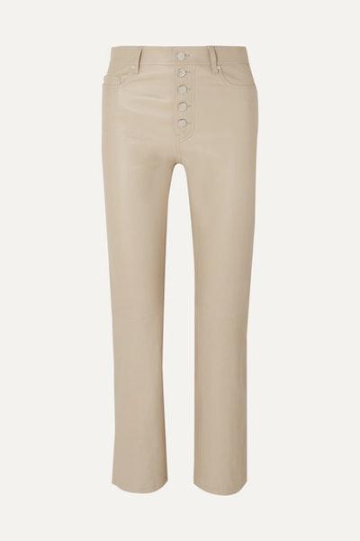 Den Cropped Leather Slim-Leg Pants