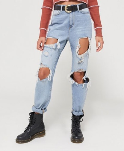 BDG High-Waisted Mom Jean in Destroyed Light Wash