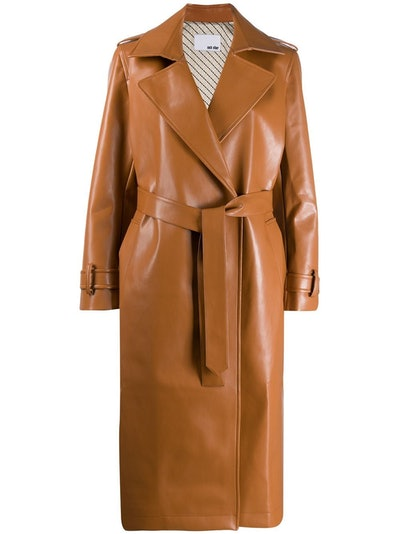 Vegan Leather Trench Coat